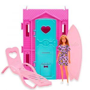 Barbie Studio de Surf Boneca Loira Vestido Roxo Fun