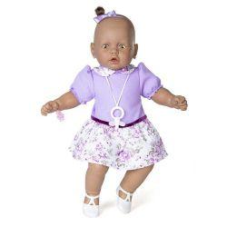 Boneca Meu Bebê Negro Vestido Lilás 60 Cm Estrela