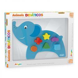 Brinquedo Pedagógico Educativo Bebes em Madeira Elefante - Junges