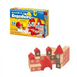 Brinquedo Pedagógico Madeira Brincando Engenheiro 53 Peças Xalingo