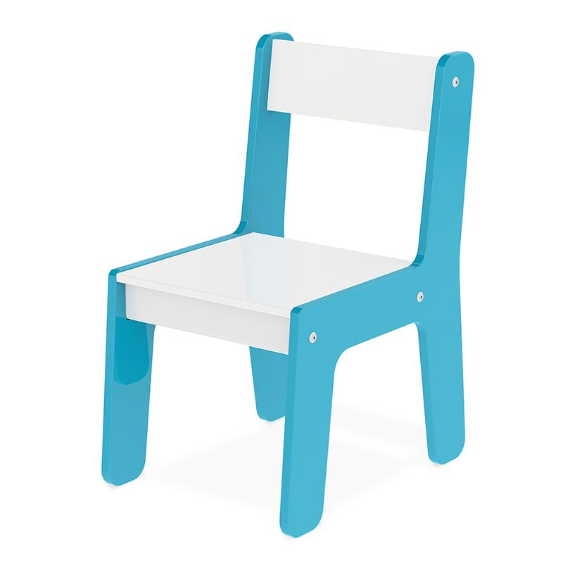 Cadeira Cadeirinha Infantil Azul em Madeira Brinquedo - Junges