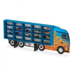 Caminhão Expositor com Nichos Azul para 20 Carrinhos Hot Wheels - Junges