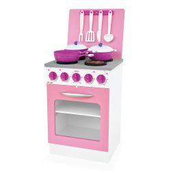Fogão Super Chef Rosa em Madeira Brinquedo Infantil - Junges