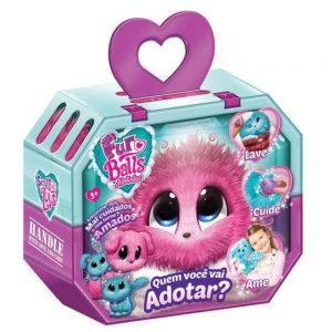 Fur Balls Pets Adotados Brinquedo Surpresa Pelúcia Rosa Fun