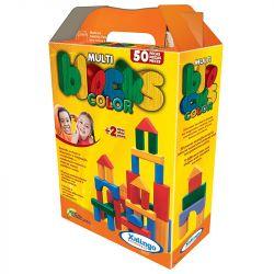 Jogo Infantil Multiblocks De Madeira Colorido 50 Peças Xalingo