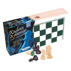 Jogo Xadrez e Damas Profissional Peças e Estojo em Madeira- Xalingo