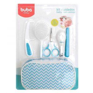Kit Higiene Cuidados para Bebê com Estojo Branco Azul Buba