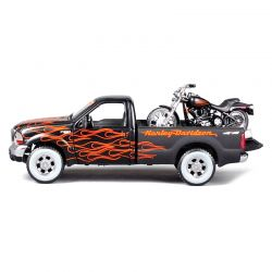 Miniatura Ford F350 Super Duty 1999 + Moto Harley Flstb Train 1:24