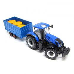 Miniatura Trator com Trailer New Holland T7 1:32 Bburago