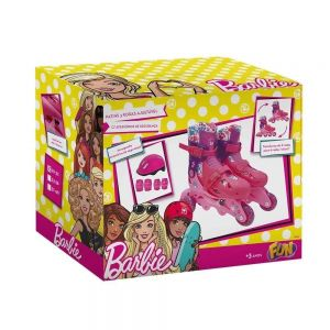 Patins Infantil Barbie Kit Segurança Ajustável 29 ao 32 Fun