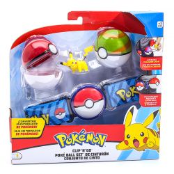 Pokemon Kit De Ação Cinto Azul Com 2 Pokebolas E Personagem