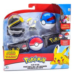 Pokemon Kit De Ação Cinto Preto Com 2 Pokebolas E Personagem