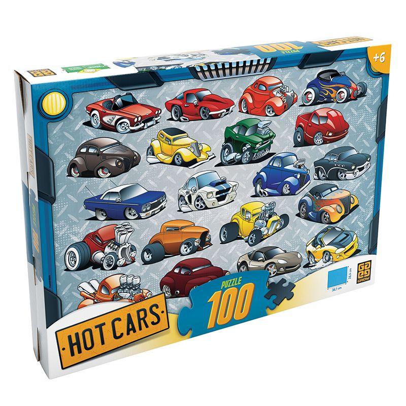 Quebra Cabeça Puzzle 100 Peças Hot Cars Grow