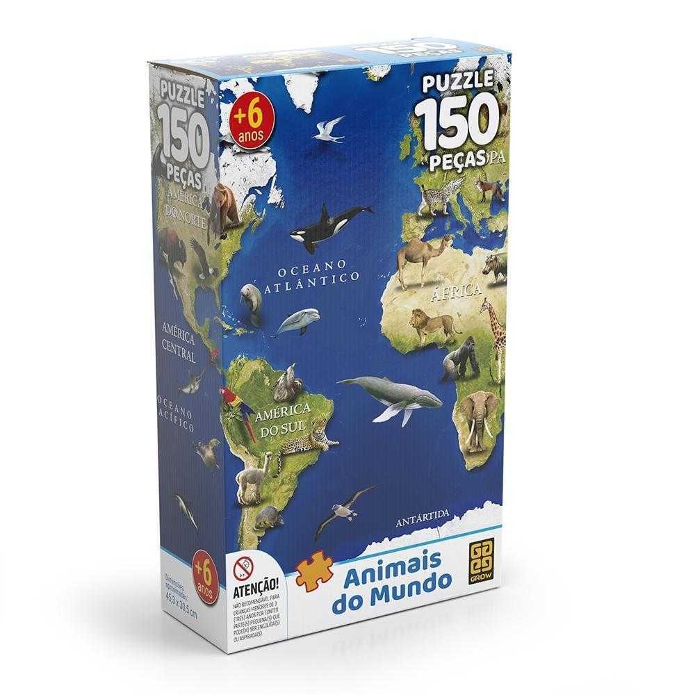 Quebra Cabeça Puzzle 150 Peças Animais do Mundo Grow