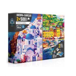 Quebra Cabeça Puzzle 2x 500 Peças Litorais Europeus Grécia e Itália Toyster
