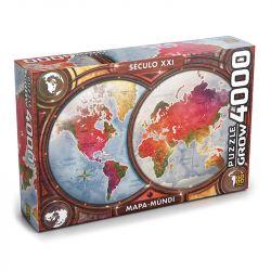 Quebra Cabeça Puzzle 4000 Peças Mapa Mundial Histórico Grow