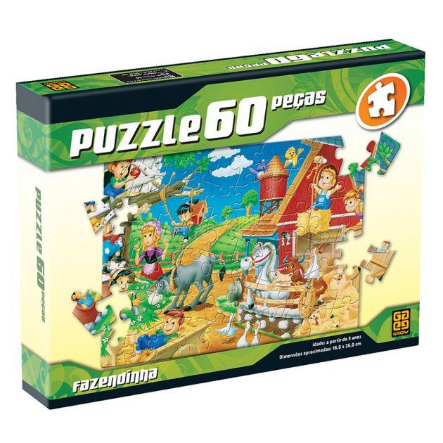 Quebra Cabeça Puzzle 60 Peças Fazendinha Grow
